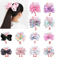 Wholesale Valentines Day Party Supplies - 8 Inch Jojo Bows Valentines Day Unicorn Hair Bow Party Supplies Big Mermaid Hair Bow For Child Teens