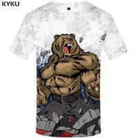 ingrosso abbigliamento anime maschile-KYKU Marca Russia T-shirt Orso Magliette Bandiera russa Maglietta Fitness T Shirt Uomo Anime camicia Uomo Camicie Uomo Abbigliamento casual