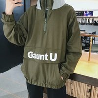 Wholesale turtle vest online - Mens Autumn Clothes Loose Fashion Outwear Coats Pullover Hooded Jackets Coats BF Streetwear Panelled Color Letter Print High Street Coats