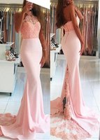 Wholesale long plus size engagement dresses - Gorgeous Pink Mermaid Prom Dresses 2018 Long Applique Beaded Lace Sash Backless Evening Gowns Long Party Dresses Engagement Gowns