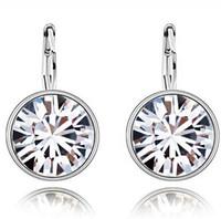 Wholesale diamond favor wedding - Earring Diamond Studs Silver Swarovski Elements Round Austrian Crystal Earrings Stud fashion jewelry wedding gifts for women