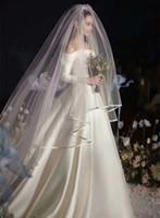 2T Long Wedding Veil 1.5m Width 3m Length White   Ivory Tulle Ribbon Edge Two Layer Wedding veil Wholesale Bridal Veils