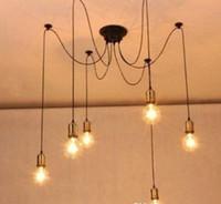 luz de suspensão do cabo de corda venda por atacado-E26 E27 Cabo De Corda De Cobre Droplight Vintage Net Aranha Buckingham Lustre Luzes de Teto Criativo Bar Fada Lâmpada de Pingente