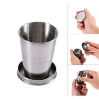 rote weingläser großhandel-Products Wholesale Telescopic Collapsible Stainless Steel Shot Glass Key Ring in Gift Box Travel Tool Outdoor Sports cup