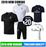 Wholesale full outfits - 2018 REAL MADRID short Tracksuits Training KITS outfits 3 4 Pants Soccer Jerseys Ronaldo ASENSIO Football SERGIO RAMOS NEW shirts