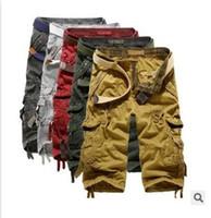 calças capri calções homens venda por atacado-Camuflagem Do Exército dos homens 3/4 Calças de Carga Calças Padrão Calças Capri Bermudas 1801ZYAA1542