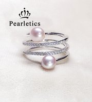 Wholesale double layer ring - cubic zirconia solid sterling silver ring setting, double pearl three layers ring mounting, ring blank without pearl,jewelry DIY, gift DIY