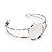 ébauche de lunette en forme de bracelets achat en gros de-Toute sale10Pcs Bronze Antique Couleur 25mm Photo Pendentif Manchette Bracelet Blanks Lunette Bracelets Pour Bijoux DIY Bracelet Plateaux
