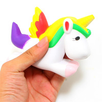 mini bolso del teléfono celular al por mayor-Rainbow Squishy Unicorn Soft Mini Squishy Phone Donut Toy Bag Charms Jumbo Buns Teléfono celular Correas Charms Lanyard Kids Gift