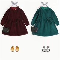 Wholesale winter western clothes online - Girls Velvet Ruffles Vintage Party Dress Candy Red and Green Color Christmas Dress Western Fashion Clothing B11