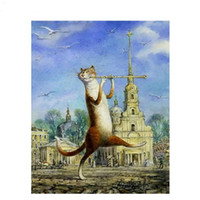 Wholesale Cat Hand Oil Painting - Frameless DIY Oil Painting By Numbers Hand Painted Modern Wall Canvas Painting Picture For Living Room(A strange cat)