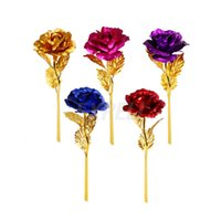 sevgililer için romantik çiçekler toptan satış-Kaplama Gül Çiçek Lover Günü Hediye Doğum Günü Romantik Altın Çiçek