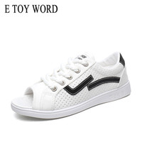 Wholesale tie up toys - E TOY WORD Sandals Women Summer 2018 New Flat Shoes Breathable Hollow Out Simple fish mouth Canvas Shoes lightweight students