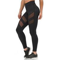 Wholesale plus size mesh leggings - Factory Outlet 2017 Athleisure Leggings For Women Mesh Splice Fitness Leggins Slim Black Legging Pants Plus Size Free Shipping