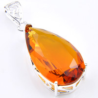 Wholesale fire citrine - 10 Pcs 1 lot LuckyShine Fire Drop Brazil Citrine Gems Crystal 925 Sterling Silver Wedding Pendants Russia American Australia