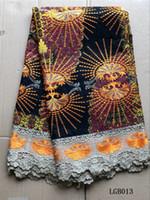stoffcharme verkauf großhandel-(6 yards / pc) Heiße Verkäufe afrikanisches Wachsspitzegewebe mit Stickerei und schöner Guipurespitzengrenze für reizend Kleid