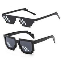 смешные очки оптовых-Солнцезащитные Очки Пиксельные Солнцезащитные Очки Мужчины Женщины Марка Головорез Жизнь Партии Очки Мозаика Старинные Смешные Черные Очки