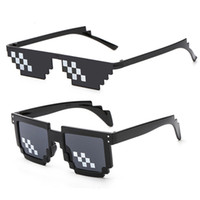 Wholesale funny eyewear for sale - Group buy Sun Glasses Pixelated Sunglasses Men Women Brand Thug Life Party Eyeglasses Mosaic Vintage Funny Black Eyewear