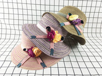 Wholesale Korean Straw Hats - Korean Cute Sun Visor Bow Beach Women's Straw Hat Folding Comfortable Travel Small Eaves Straw Hat