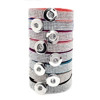 Wholesale button bracelets for sale - New Colors Rhinestone Leather Bracelets Noosa Chunka Strands mm Snap Buttons Chains for Women Girls Ladies