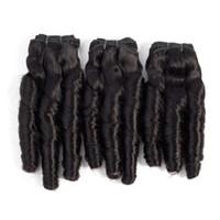kıvırcık yay toptan satış-10-20 Inç Funmi saç Demetleri Bahar Kıvırcık Brezilyalı İnsan Saç Örgüleri 3 Adet Ham Hint Perulu Malezya İnsan Saç Doğal Renk