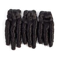 tejido peruano de 18 pulgadas al por mayor-El pelo humano brasileño rizado de la primavera de 10-20 pulgadas ata con correa el pelo humano malasio peruano indio crudo de 3Pcs Color natural