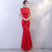 Wholesale red lace qipao - Shanghai Story chinese traditional dress Floral Embroidery Long mermaid Qipao For Women Lace cheongsam dress Oriental Dress