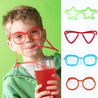 canudos de plástico azul venda por atacado-Engraçado Palha de Óculos Macio Único Flexível Tubo Beber Crianças Acessórios Do Partido Colorido Azul Vermelho Canudos De Plástico