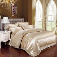 Wholesale jacquard silk bedding set gold for sale - Group buy 2017 Queen King size bed linen gold bedding set tribute silk satin Jacquard duvet cover Bedclothes bedspread