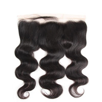 Wholesale lace frontal online - Unpprocessed Brazilian Body Wave Human Hair Handmade Lace Frontal Closure Full Lace Frontal Top Closure Peruvian Remy Human Hair