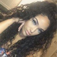 ingrosso parrucca piena di curl kinky-Capelli vergini peruviani ricci crespi di colore nero merletto anteriore parrucche parrucche piene del merletto dei capelli umani 150 densità pre pizzicato parrucca