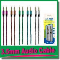 Wholesale multimedia tablets online - 3 mm Auxiliary AUX Extension Audio Cable Unbroken Metal Fabric Braiede Male Stereo cord M for iphone Samsung MP3 Speaker Tablet PC OM R4