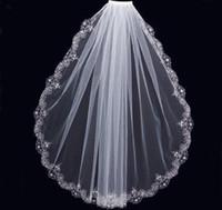 mantilla de encaje al por mayor-Encantador blanco marfil velos cortos Fiesta de boda de lujo Con cuentas de encaje Recortar Una capa Barato de alta calidad nupcial Mantilla Tulle con peine