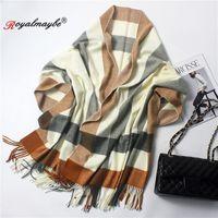 écharpe châle femme 2018 hiver chaud tartan cachemire épaissi grandes écharpes  laine noire plaid rouge femmes foulard écharpe 85fe52ecc23