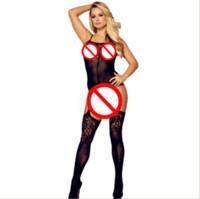 siyah sıkı tulumlar toptan satış-2018 kadın seksi sıcak seksi siyah tam vücut fishnet göz açık takım tulum jakarlı sıkı günaha iç çamaşırı çorap örgü erotik