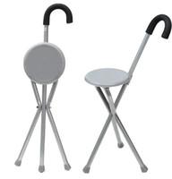 stativ falten großhandel-Faltender Aluminiumstativ-Stock-wandernder Stuhl-tragbarer Spazierstock mit Plastiksitz-rutschfesten Fuß-Spazierstock-im Freienwerkzeug
