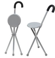 tripod katlama toptan satış-Katlanır Alüminyum Tripod Kamışı Yürüyüş Sandalye Taşınabilir Plastik Baston Ile Kaymaz Ayak Sopa Ayak Baston Açık Aracı