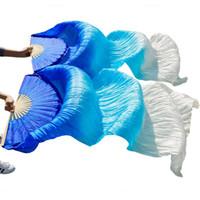 voile de soie ventre achat en gros de-voile de haute qualité 100% soie chinoise voiles 1 paire de danse du ventre fans de nervures de bambou longs fans de soie 180 * 90cm accessoires de danse à la main