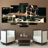 ingrosso dipinti strumenti musicali tela-Drummms Musical Instruments 5 pezzi Stampe su tela Wall Art Olio su tela Home Decor / (Senza cornice / Con cornice)