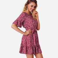 ingrosso legami migliori vestito-La migliore vendita delle donne Lady Summer dress Fashion Girls Flower stampa Bow Tie Flounce manica corta partito Mini abiti vestidos
