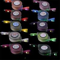 câble d'éclairage rétractable achat en gros de-Câble de chargeur micro USB à câble rétractable plat plat nouilles pour samsung s3 s4 s6 s7 n7100 1m 3FT