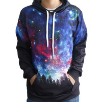 хараюку галактики толстовки оптовых-2017 unisex Hooded sweatshirts Men Women 3D Print Space Galaxy Sweatshirts hoodies With Stars harajuku Tops