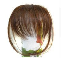 Wholesale thin hair bangs for sale - Group buy Oubeca Clip In Blunt Bangs Light Brown Thin Fake Fringes Natural Straigth Synthetic Neat Hair Bang Accessories For Girls