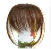 kahverengi saç saçak toptan satış-Oubeca Künt Patlama Klip Açık Kahverengi Ince Sahte Saçaklar Doğal Straigth Sentetik Düz Saç Bang Aksesuarları Kızlar Için