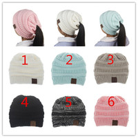 Wholesale beanies hats for kids - INS Fashion Children CC Pony Beanie Caps For 3 to 12Years Old Winter Outdoor Warm Ponytail Hats Kids Girl Knitted Crochet Skull Beanies B11