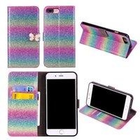 bling credit card case toptan satış-Moda Deri Cüzdan Kılıf Kredi Kartı ile Bling Renkli Standı Kılıf Standı Kılıf iphone X 8 7 6 6 S Artı 5 Sumsung Note8 S8 Artı S7 S6