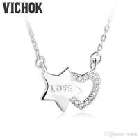 Wholesale platinum heart shaped necklace - 925 Sterling Silver Pendant Necklace Heart Plus Star Shape Necklace Only True Love for Women Lover Platinum Rose Gold Colors VICHOK