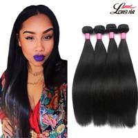 boyalı bakire peru saç toptan satış-Perulu Düz İnsan Saç Uzatma Işlenmemiş Virgin İnsan Saç 3/4/5 Demetleri Boyalı Perulu Düz Saç Örgü Toptan