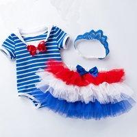 lacivert tarzı bebek elbiseleri toptan satış-Toddler Bebek Kız Elbise Mavi Lacivert Stripes Stil 3 adet Bodysuit + Tutu Elbise + Headhand Doğum Günü Partisi Elbise Yenidoğan Kıyafet