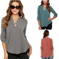 Wholesale Blouse White Blue - New Hot Selling Women V Neck Long Sleeved Blouse Ruffled Chiffon Shirt Woman Shirt Size S-5XL
